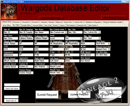 Wargods Database editor